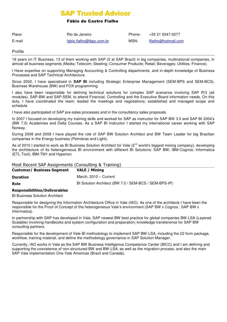 Sap Bi Resume Sample for Fresher Resume for Sap Fico Freshers Resume Ideas