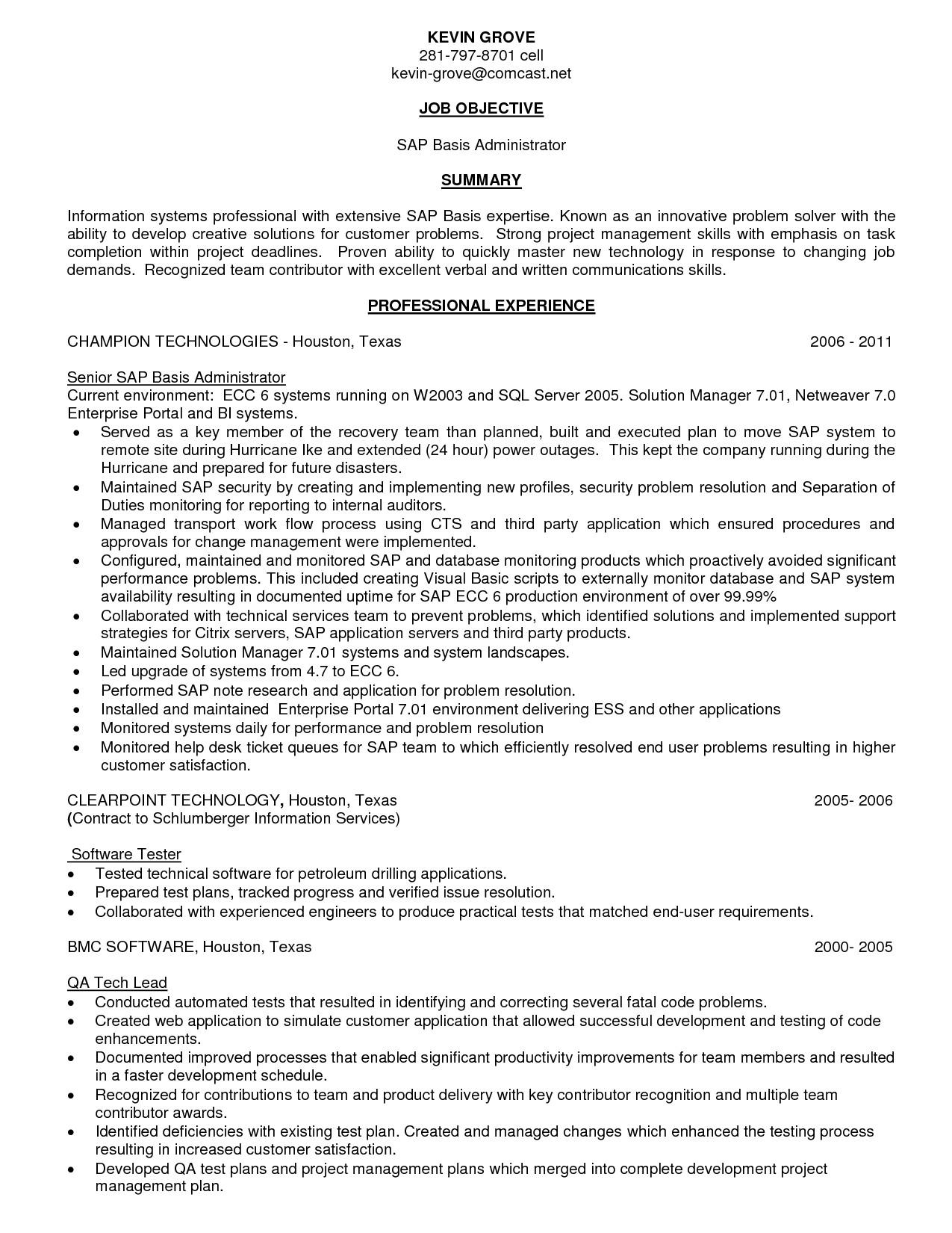 sap basis resume format for freshers fresh 100 sample resume of sap hr consultant