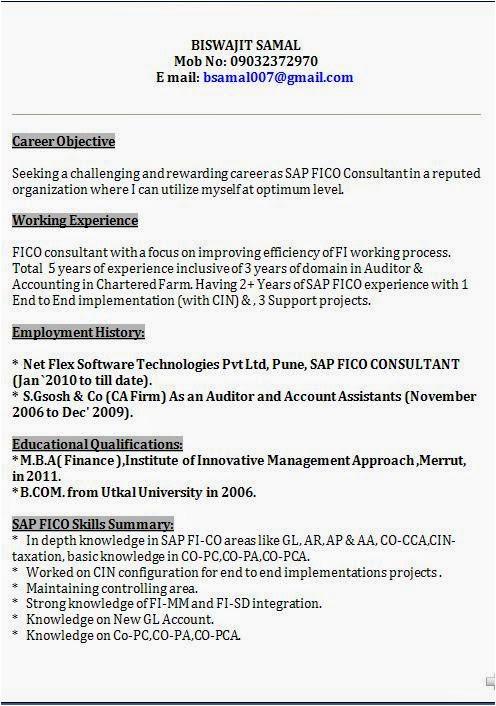 Sap Bi Resume Sample for Fresher Sap Fico Professional Resume