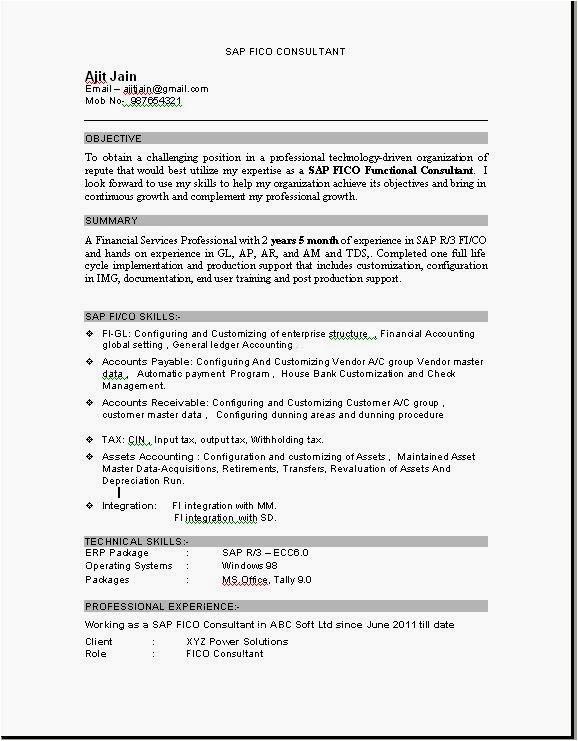 sap fresher resume sample