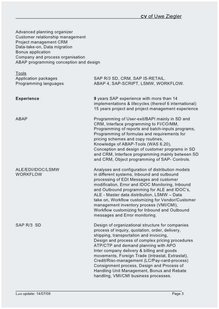 sap bi sample resume