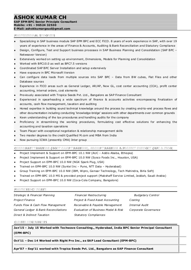 Sap Bpc Resume Samples Akg Sap Bpc Consultant