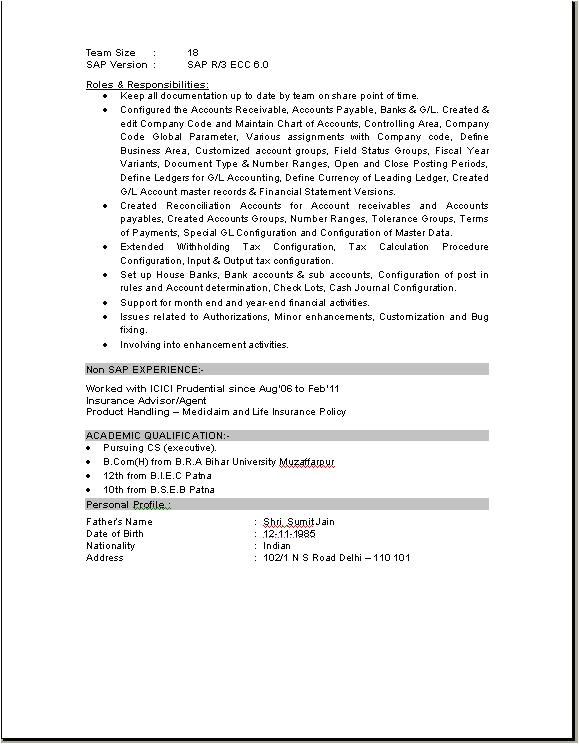 Sap Fico End User Resume Sample Sap Fico Consultant Resume Download