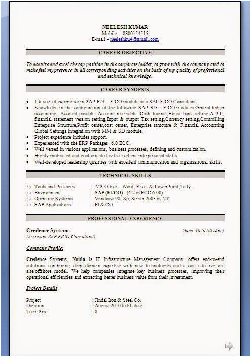 Sap Fico End User Resume Sample Sap Fico Resume Sample Resume Sample