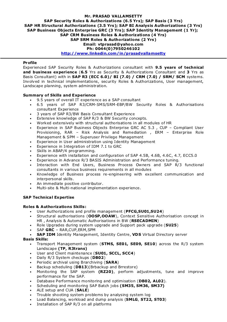 sap hr end user resume