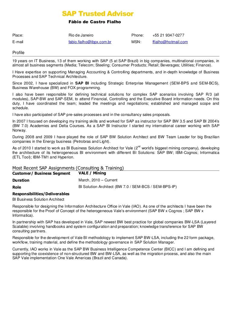 sap fico resume sample pdf