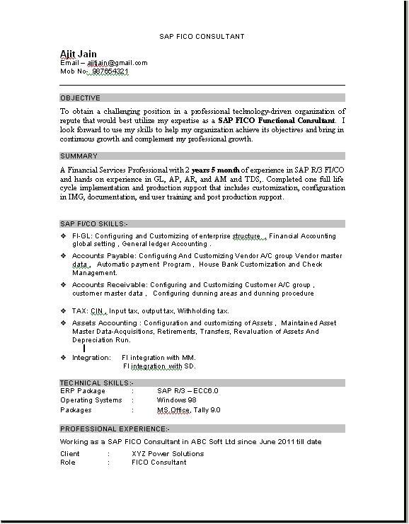 sample resume sap consultant