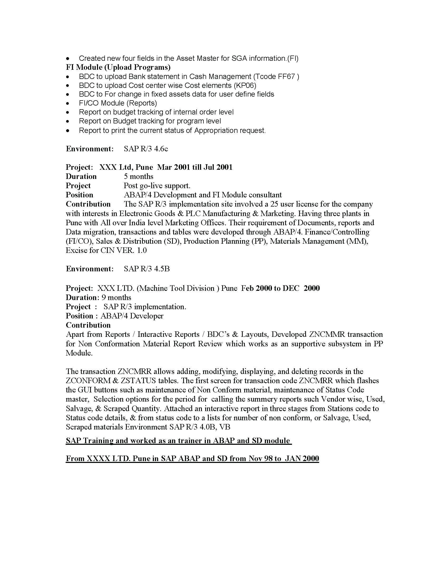 2521345312288 sap fico sample resume 3 years experience