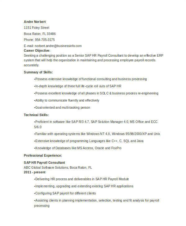 Sap Hcm Resume Sample 52 Resume format Samples Sample Templates