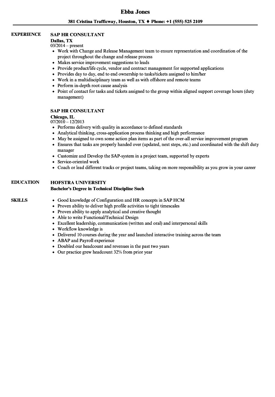 sap hr consultant resume sample