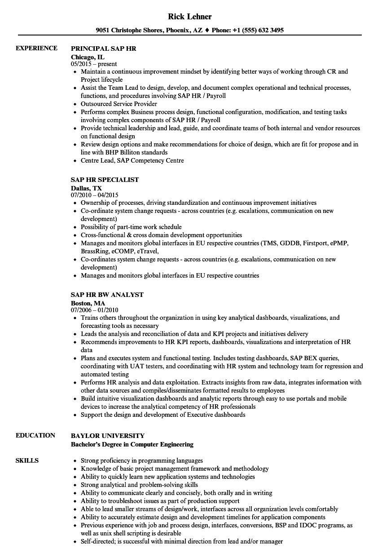 sap hr resume sample