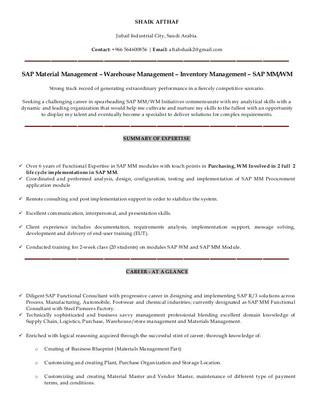 shaik afthaf sap mmwm consultant resume