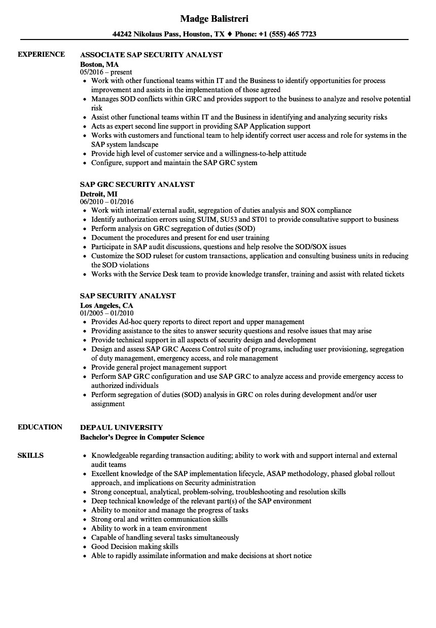 sap security analyst resume sample