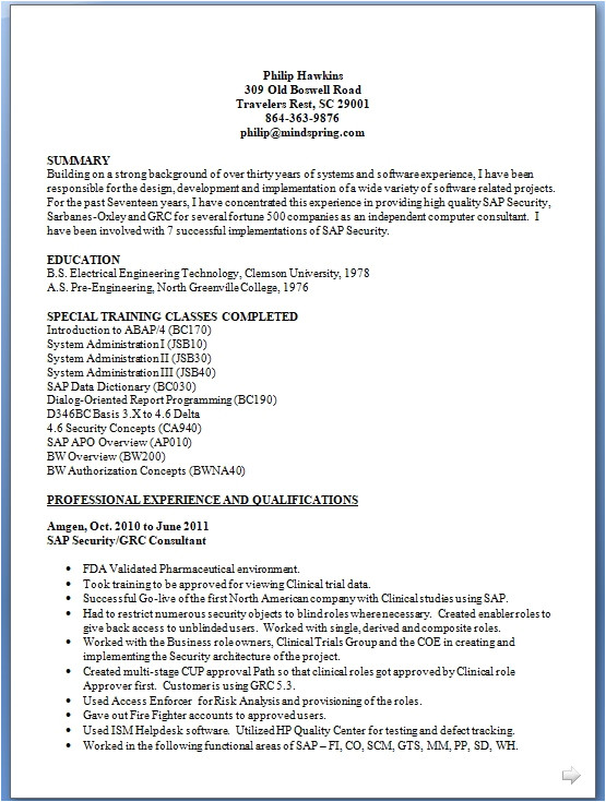 sap security consultant sample resume