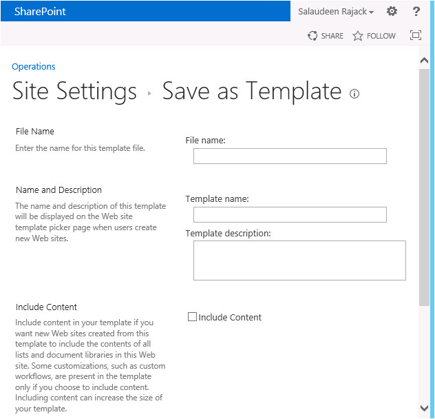 save site as template option missing in sharepoint 2013