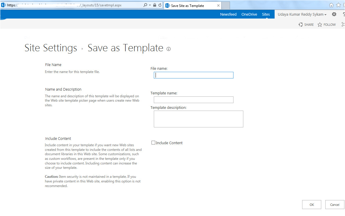 issue save site as template option
