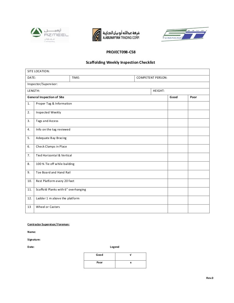 Scaffold Inspection Checklist Free Template Weekly Scaffolding Checklist
