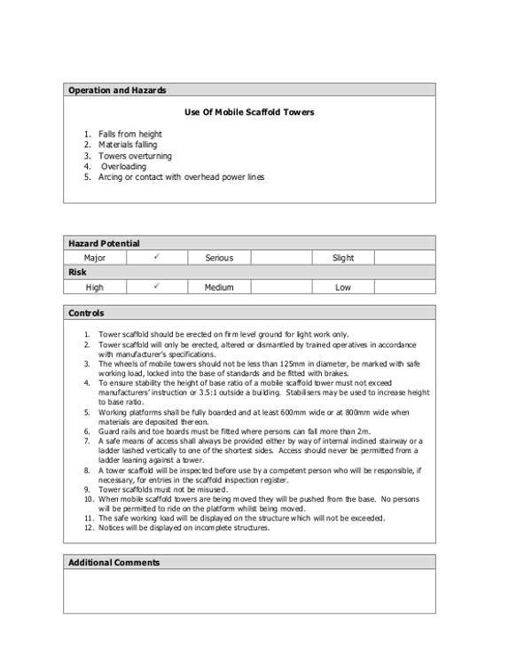 scaffolding risk assessment template