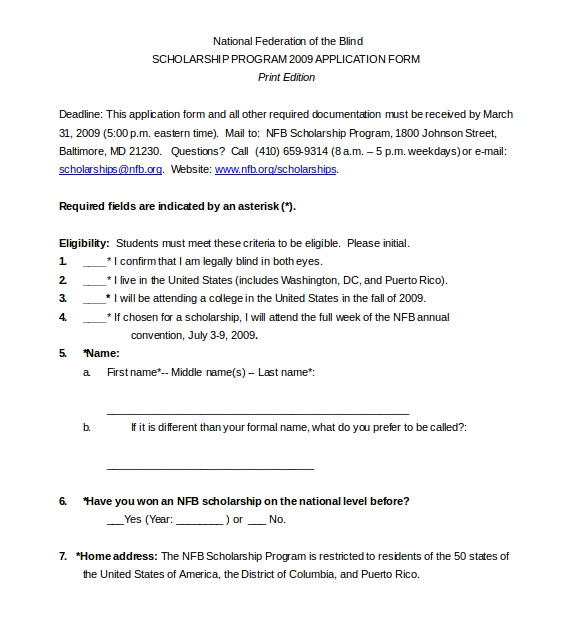 Scholarship Guidelines Template Scholarship Application