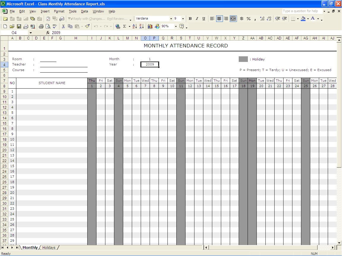 School Register Template Spreadsheet 5 attendance Register Templates Excel Xlts