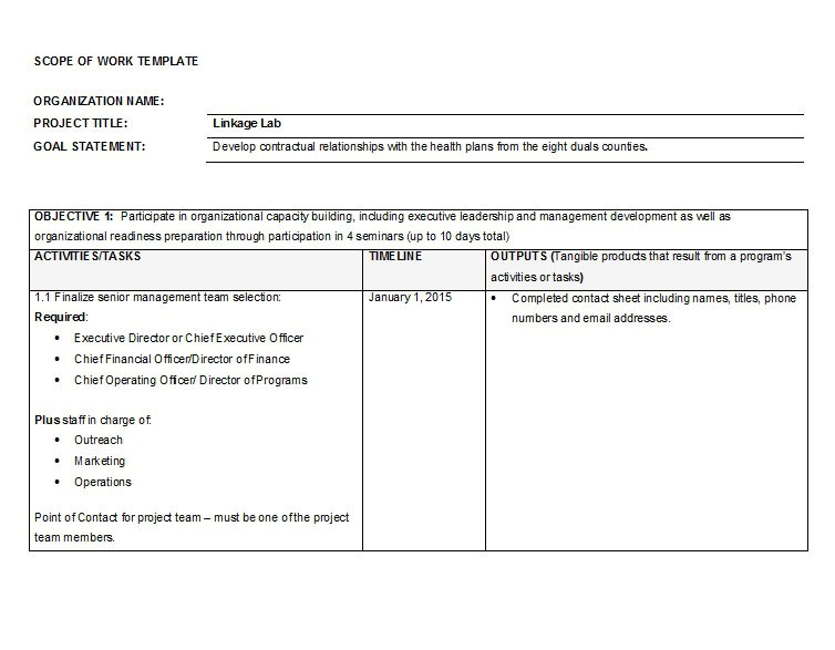 Scope Of Works Template Free 30 Ready to Use Scope Of Work Templates Examples Free