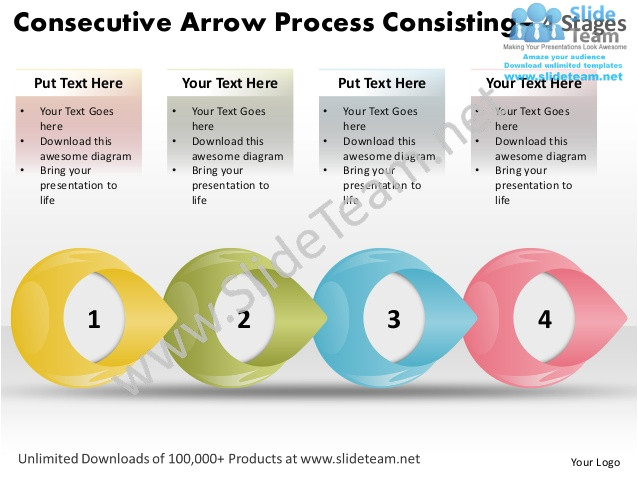 consecutive arrow process consisting 4 stages score business plan template power point slides