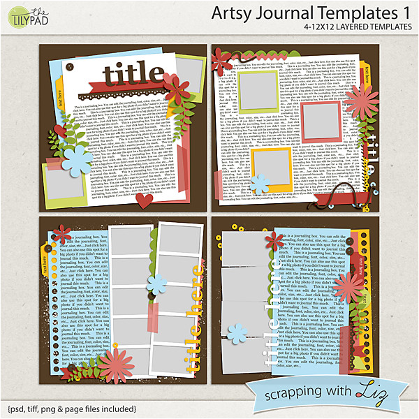 artsy journal 1 digital scrapbook templates