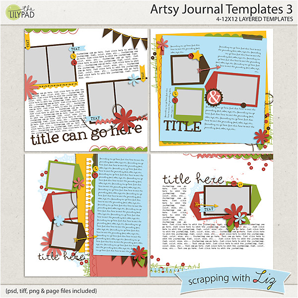 Scrapbook Journaling Templates Digital Scrapbook Template Artsy Journal 3 Scrapping