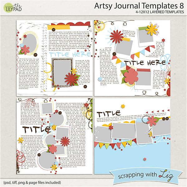 artsy journal 8 digital scrapbook templates