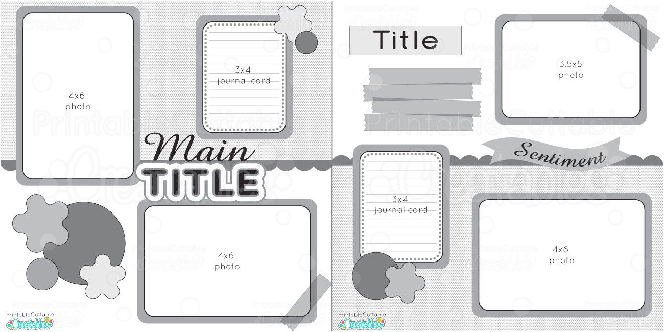 12x12 double layout printable scrapbook sketches
