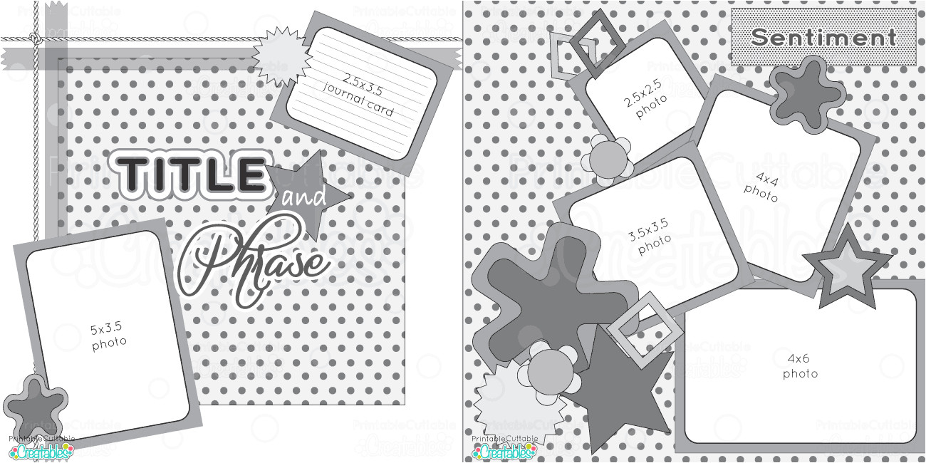 2 page 12x12 free printable scrapbook sketch