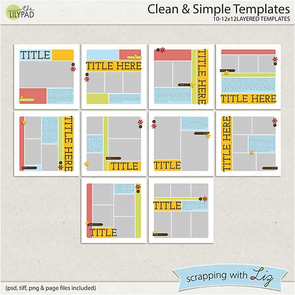clean and simple digital scrapbook templates