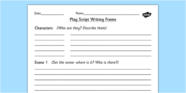 t2 e 910 play script writing frame