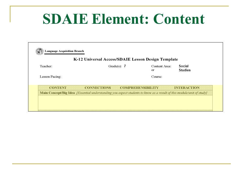 Sdaie Lesson Plan Template Universal Access Sdaie Session 2 Lesson Design Template