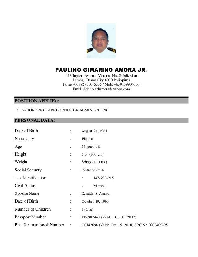 Seafarer Resume Sample Latest Resume Oct15
