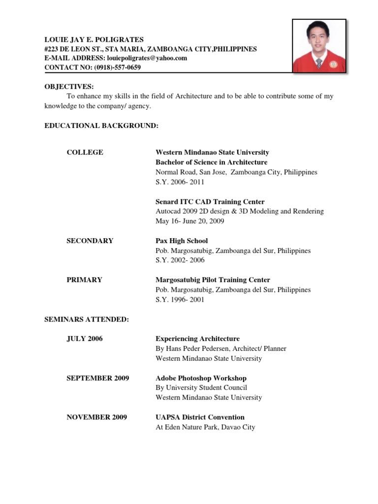 resume sample doc philippines