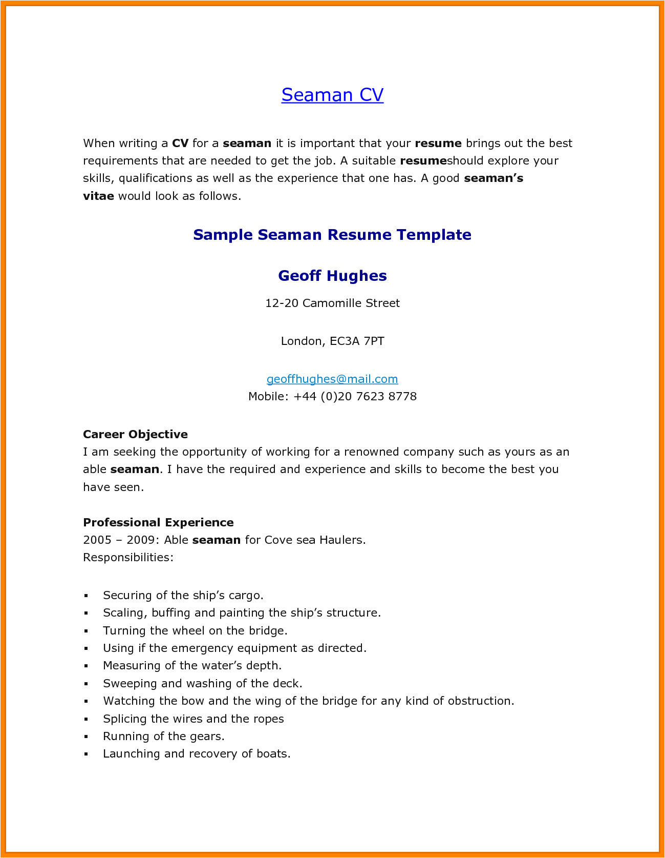 resume sample format for seaman