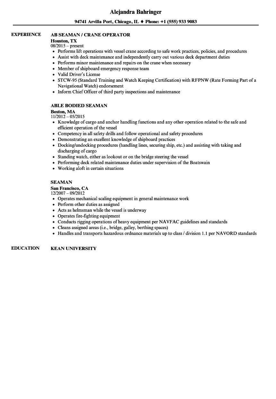 seafarer resume sample