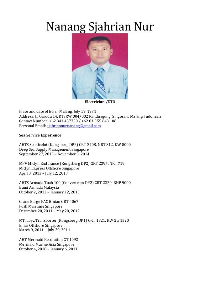 Seafarer Resume Sample Seaman Resume