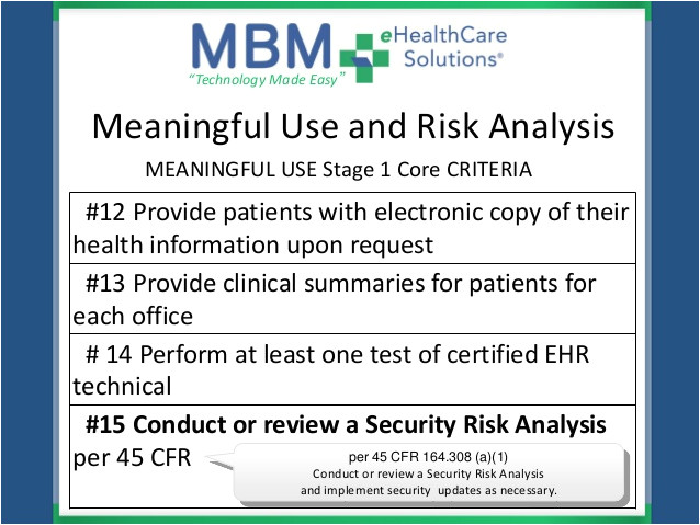 meaningful use security risk essment