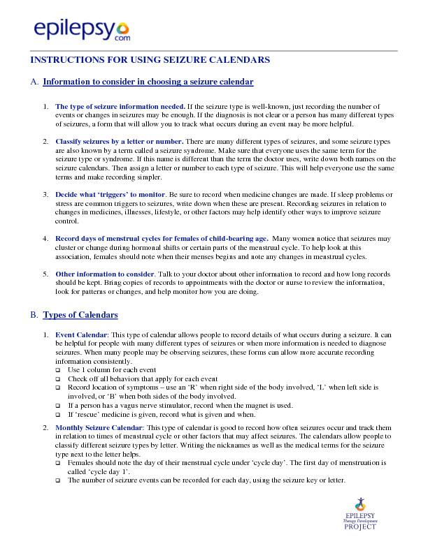 Seizure Action Plan Template Seizure Information forms Epilepsy Foundation