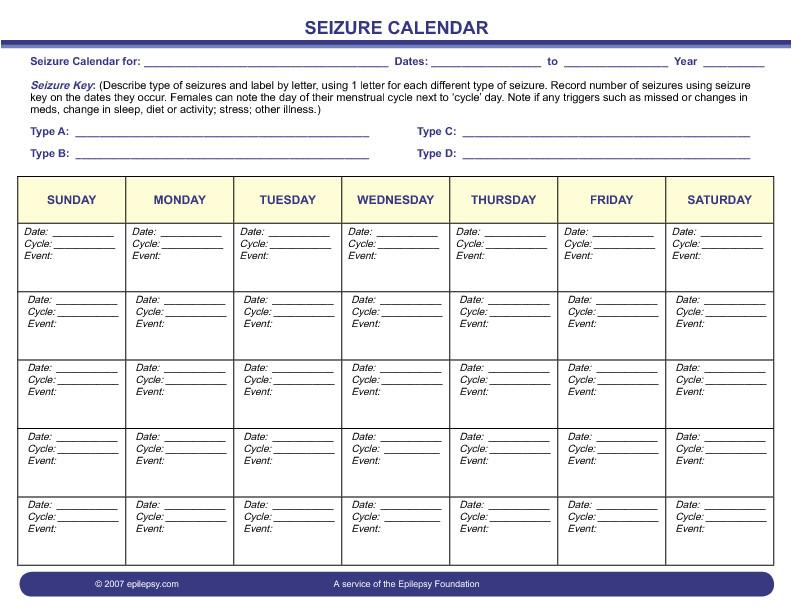 seizure diary printable