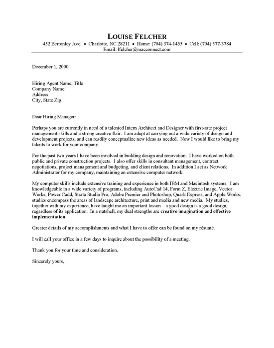 architectural cover letter sample