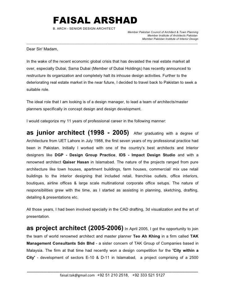 Senior Architect Cover Letter Faisal Arshad Cover Letter Jan 09fnl
