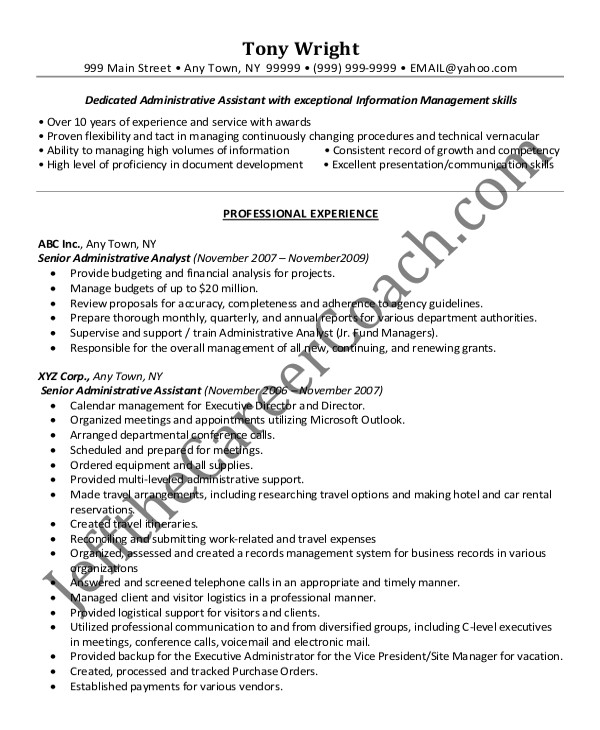 sample senior administrative assistant resume