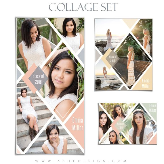 senior collage template set diamonds 3