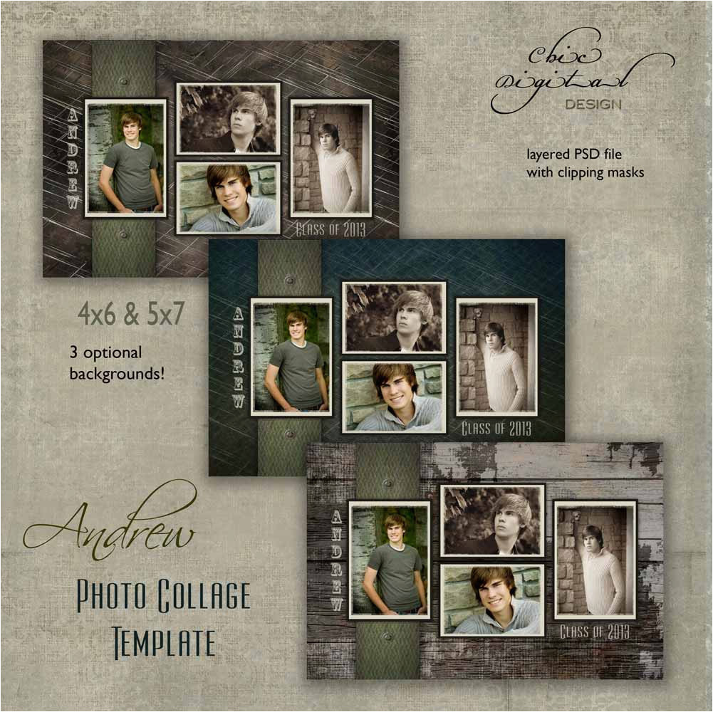 Senior Photo Collage Templates Senior Photo Collage Graduation Template by
