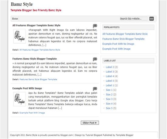 seo friendly blogger template bamz style