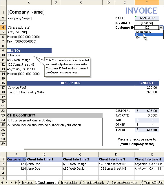 service charge invoice template