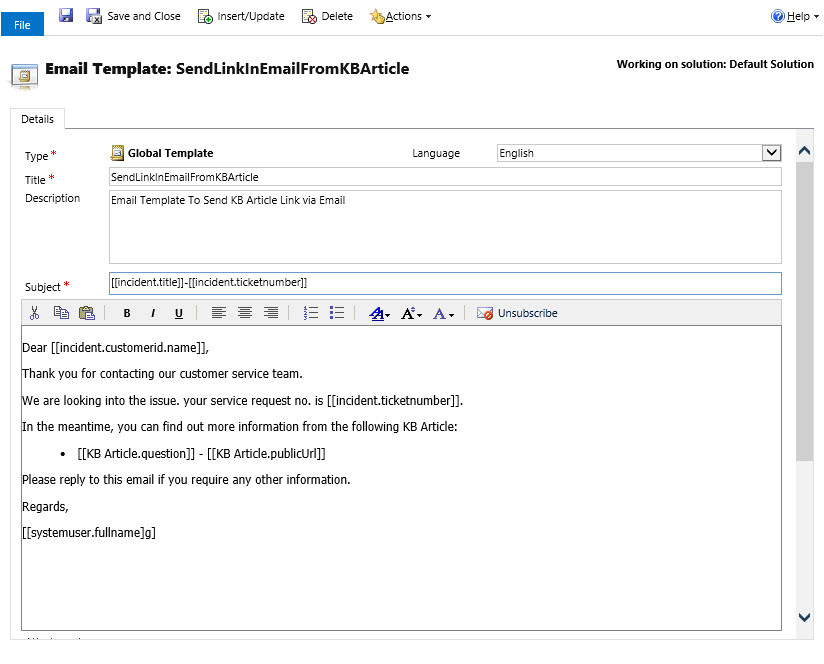 working with email templates in unified service desk